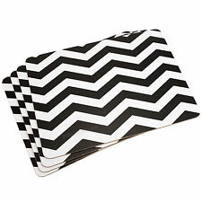 Pack of 4 Chevron Black & White Placemats Dinner Dining Table Setting Plate Mats