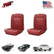 1964-66 Mustang Front Bucket Seat Deluxe PONY Upholstery - Red - In Stock!