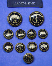 11 LANDS END black enamel w/antique gold LE logo Anchor design Jacket Buttons