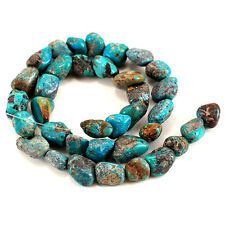 "10-14mm Natural Blue Hubei Turquoise Nugget Beads 15"" (TU652)b"