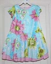 Toddler Girls Boutique European Pampolina Aqua Pink Floral Spring Dress size 2T