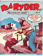 """Red Ryder No 76 1950's -Australian-""""Red Held At Gun Point  Cover ! """""""