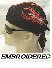 RED&WHITE FLAMING MYSTIC Embroidered Tied FITTED Bandana skullCap Doo RAG DO RAG