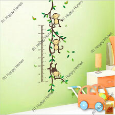 Monkey Tree Growth Height Chart Wall Stickers Kids Nursery Decal Art Decor Vinyl