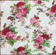 2 single paper napkins Decoupage Scrapbooking Collection Shabby Pink Flowers