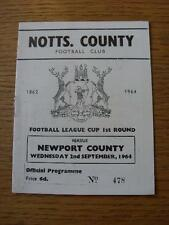 02/09/1964 Notts County v Newport County [Football League Cup] (Match Details No