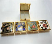 "ONE (1) Cloisonne Enamel Square Pill Box 1 1/2"" with 2 Section Plastic Insert"