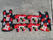 lot 4 red Hyperfire Nerf Dart tag guns & 4 red double sided vests tested works