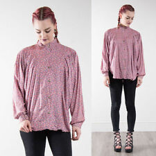 VINTAGE PINK FLORAL DITSY PATTERNED OVERSIZE SHIRT BLOUSE LOOSE FIT COLLARED 16