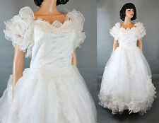 Wedding Gown Sz L White Satin Chiffon Ruffled Embroidered Dress Cathedral Train