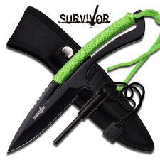 8 INCH SURVIVAL KNIFE WITH PARACORD, MAGNESIUM ALLOY FIRE STARTER, NYLON SHEATH