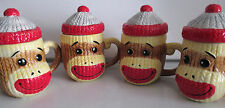 Sock Monkey Mugs with Lid Ceramic Cable Knit Texture Collectible 4 Coffee Cups
