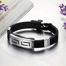 Men's Wrist Watchband Punk Silicone Titanium Steel Wristband Bangle Bracelet