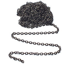2 X Medidor Negro Cromado Gunmetal 2x3mm Fino Trace Cadena, jewellery/necklace/craft