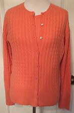 M Belford Cashmere Twin Set Tank & Cardigan Sweaters Coral Pink Cable Knit EUC