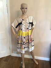 SEE BY CHLOE 100% silk Dress Size 36 Uk 8 Short Sleeve Black Beige Yellow GC