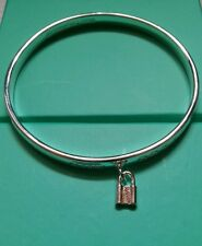 Lock Bracelet / Bangle 925 Stamped Silver lady birthday Christmas  gift +bag UK