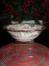 "222 FIFTH MOUNT HOLLY GREEN 10"" ROUND SERVING BOWL CHRISTMAS PINECONES"