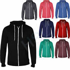 NEW MENS PLAIN ZIP UP HOODED SWEATSHIRT AMERICAN STYLE HOODIE ZIPPER SIZE S-XXL