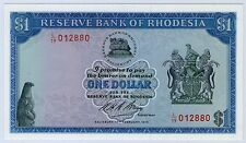 1970 FIRST ISSUE DATE RESERVE BANK OF RHODESIA $1 NOTE *17.2.1970* GEM UNC