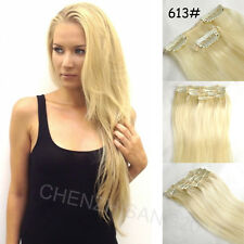 """Tengda 14""""-30"""" 7Pcs/Set Clips In on Remy Real 100% Human Hair Extension 15colors"""