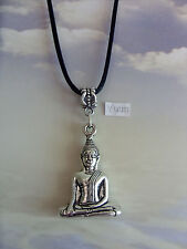 "3D Thai Buddha Budda Tibetan Silver Charm Pendant, Long 30"" black Chain Necklace"