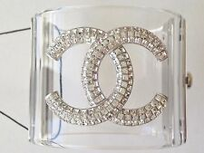 CHANEL 2017 TOP CRYSTAL CC CLEAR LUCITE BRACELET DRESS CUFF NEW IN BOX AND BAG