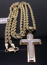 "10K Yellow/White Gold Jesus Cross Pendent Diamond Cuts  With 10 K 26"" rope Chain"