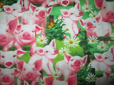 PIGS PIGLETS FLOWERS BUTTERFLY FARM ANIMALS COTTON FABRIC BTHY