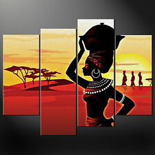 AFRICAN LADY SUNSET SPLIT CANVAS WALL ART PICTURES PRINTS LARGER SIZES AVAILABLE