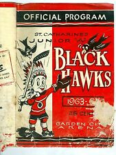 1963-64 St Catharines Jr A Hockey Club BLACK HAWKS Program HULL HODGE STANFIELD