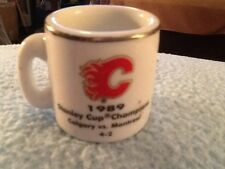 NHL STANLEY CUP CRAZY MINI MUG CALGARY FLAMES 1989 CHAMPS W/OPPONENT &SCORE