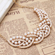 Stylish Jewelry Imitation Pearl Hollowed Golden Choker Bib Collar Necklace Chain