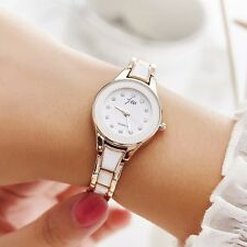 Women's Fashion Dress Rose Gold Imitation Agate Crystal Quartz Bracelet Watches