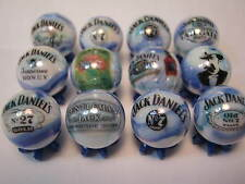 JACK DANIELS WHISKEY WHISKY 5/8 size glass marbles lot collection + STANDS