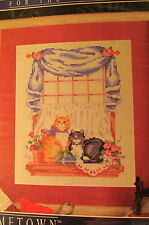 "New Vtg Designs for the Needle Cross Stitch Kit 5252 Cat Friends 8"" X 10"""