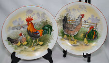 "VTG Rooster Birds 9"" Plates Country Decorative Wall Hanging W. Germany Bavaria"