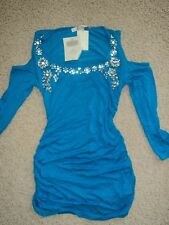 BOSTON PROPER ELECTRIC BLUE CRYSTALS EMBELLISHED COLD SHOULDERS TOP TUNIC XXS NW