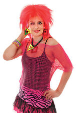 80's 90's NEON PINK MESH TOP 8-14 FUNKY GROOVY RAVE FANCY DRESS