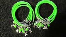 "1 Dz Lime Green Lymphoma Cancer ""Hope"" w/ Glass Bead Bracelets **FREE SHIPPING**"