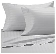 Wamsutta Damask Stripe Silver Twin Sheet Set 500 Thread CT 100%  egyptian cotton