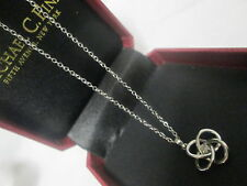 Sterling Diamond Necklace Pendant Michael C Fina 17 inch chain with box