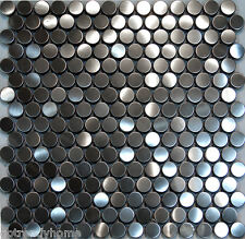 1SF-Penny Circle Stainless Steel Mosaic Tile Backsplash Kitchen Spa Sink Wall