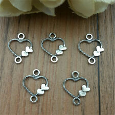Wholesale 50pcs Heart  silver Spider Charm Pendant beaded Jewelry Findings DIY