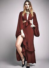 NWT Free People Special Edition brick red Draped Cut Out Maxi Dress Gown 4