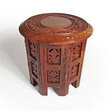 INDIAN WOODEN OCTAGONAL TABLE WITH COPPER/BRASS INLAY - 12""
