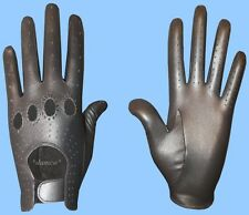 NEW MENS size 7.5 METALLIC PEWTER GENUINE KID LEATHER DRIVING GLOVES