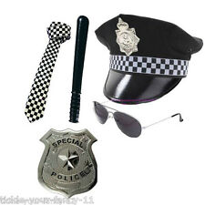MENS POLICEMAN BATON HAT TIE BADGE AVIATOR GLASSES POLICE SET COP FANCY DRESS