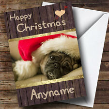 Pug Dog Cute Personalised Christmas Card