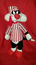 "Looney Tunes Sylvester the Cat Plush in Striped Pajamas Red White 17"" Hangtags"
